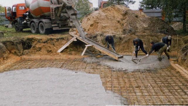 выкопать по углам конструкция залить бетон мясные